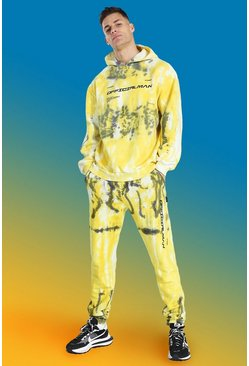 Yellow Tall Official Man Tie Dye Tracksuit