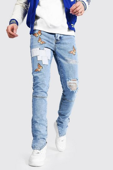 Ice blue Tall Skinny Butterfly Jean With Knee Rip
