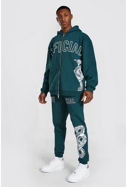 Teal green Oversized Official Snake Zip Hooded Tracksuit