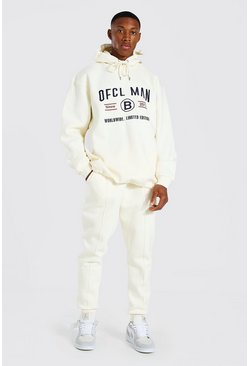 Ecru white Oversized Man Embroidered Hooded Tracksuit