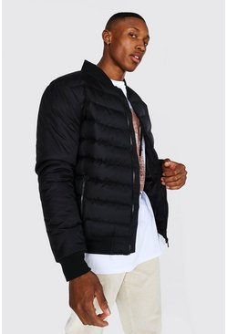Black Quilted Bomber With Nylon Sleeves