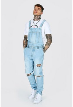 Ice blue Tapered Stacked Knee Rip Long Dungaree