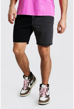 True black Slim Rigid Contrast Denim Short