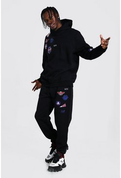 Black Original Man Multi Badge Hooded Tracksuit