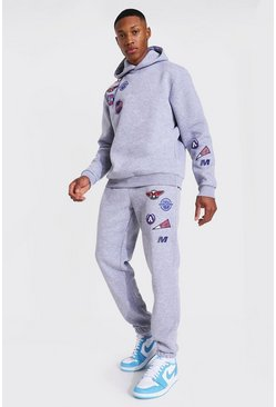 Grey marl grey Original Man Multi Badge Hooded Tracksuit