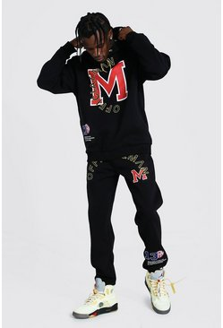 Black Official Man Applique Hooded Tracksuit
