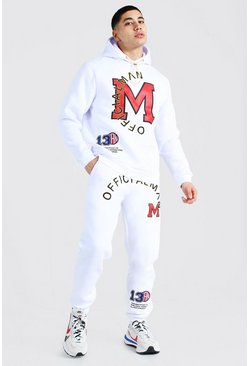 White Official Man Applique Hooded Tracksuit