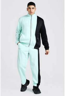 Mint green Loose Fit Man Tricot Tracksuit With Poppers