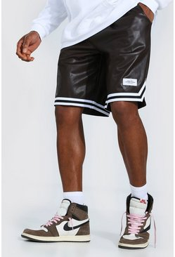 Brown Man Pu Basketball Shorts