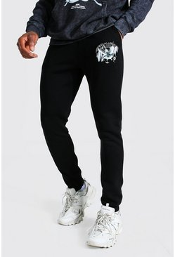 Black Official Dove Print Skinny Joggers