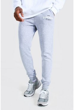 Grey marl grey Limited Edition Printed Skinny Joggers