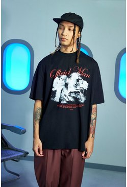 Black Official Man Oversized Horse Print T-shirt
