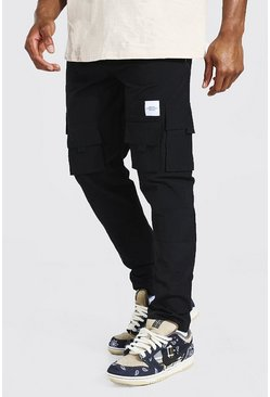Black Crinkle Shell Man Tab Cargo Trousers
