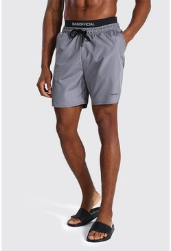 Grey Man Mid Length Double Waistband Swim Shorts