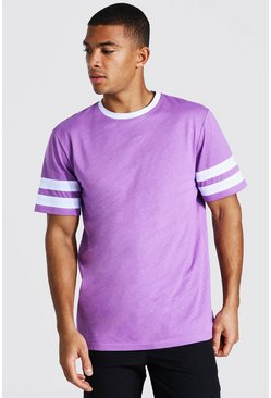 Purple Contrast Sleeve Panel T-shirt