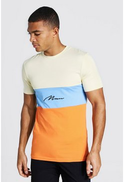Orange Man Signature Muscle Fit Colour Block T-shirt
