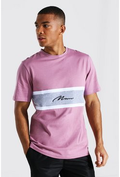 Mauve purple Man Signature Colour Block T-shirt