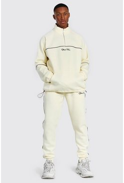 Ecru white Official Oversized Funnel Neck Tracksuit