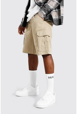 Stone beige Fixed Waist Band Cargo Short