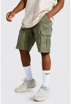 Khaki Fixed Waist Band Cargo Short
