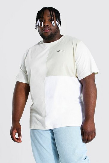 Ecru white Plus Size Man Script Colour Block T-shirt
