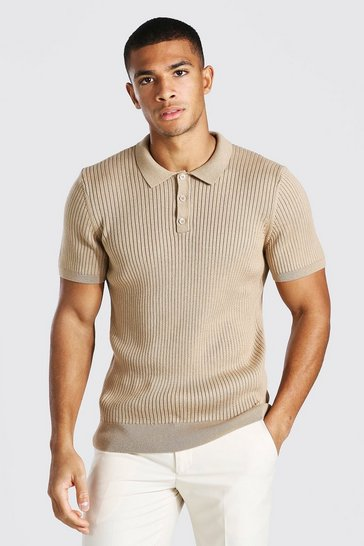 Camel beige Short Sleeve Slim Fit Ribbed Knit Polo