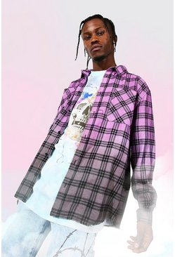 Fuchsia pink Oversized Ombre Varsity Print Check Shirt
