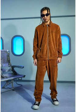 Brown Official Man Towel Zip Through Tracksuit