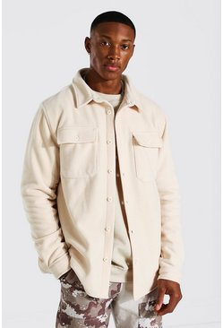 Ecru white Man Official Fleece Overshirt