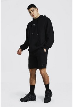 Black Man Signature Short Hooded Tracksuit