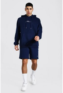 Navy Man Signature Short Hooded Tracksuit