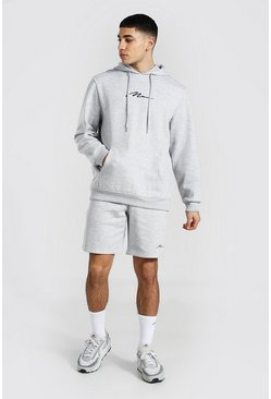 Grey marl grey Man Signature Short Hooded Tracksuit