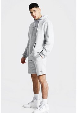 Grey marl grey Original Man Short Hooded Tracksuit
