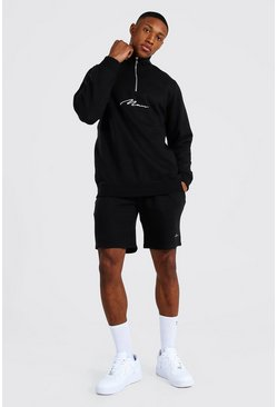 Black Man Signature Half Zip Short Tracksuit
