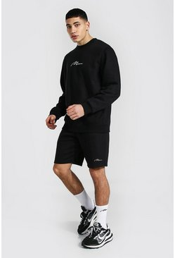 Black Man Signature Sweater Short Tracksuit
