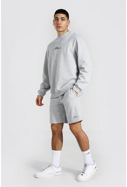 Grey marl grey Man Signature Sweater Short Tracksuit