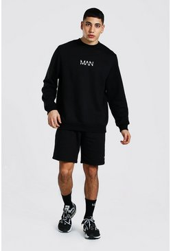 Black Original Man Sweater Short Tracksuit