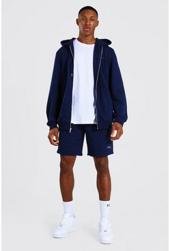Navy Man Signature Zip Hooded Short Tracksuit