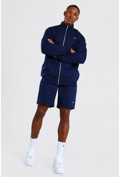 Navy Man Signature Trainingspak Met Hoge Hals En Shorts