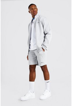 Grey marl grey Man Signature Funnel Neck Short Tracksuit