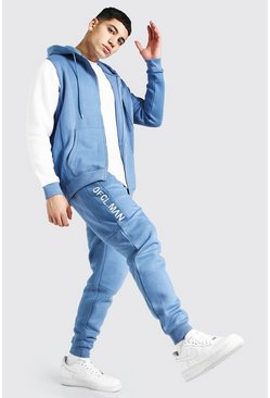 Blue Official Man Colour Block Zip Hood Tracksuit