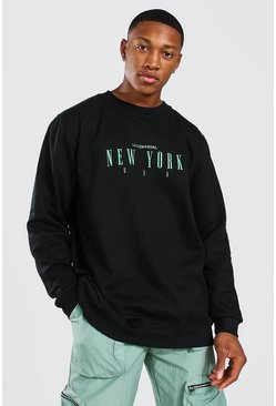 Sweat oversize imprimé New York - MAN Official, Black noir