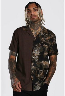 Black Short Sleeve Revere Tie Dye Viscose Shirt