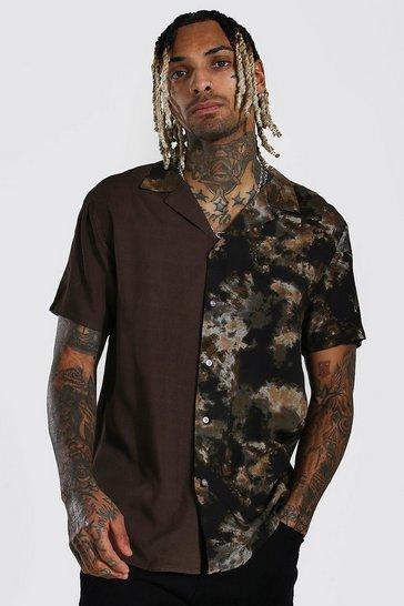 Black Short Sleeve Revere Tie Dye Viscose Shirt