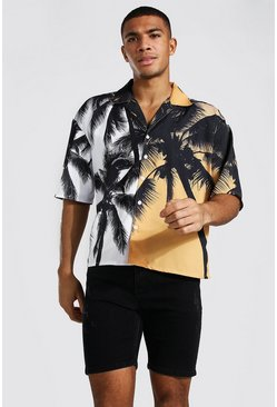 Orange Boxy Fit Short Sleeve Revere Palm Poly Shirt