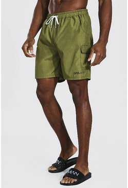 Light khaki khaki Official Man Cargo Mid Length Swim Short
