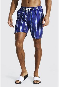 Navy Tie Dye Stripe Mid Length Swim Short