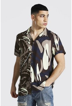 Khaki Short Sleeve Revere Spliced Floral Viscose Shirt