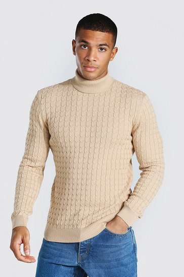 Camel beige Cable Knit Roll Neck Jumper