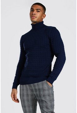 Navy Cable Knit Roll Neck Sweater